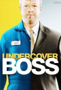Undercover Boss Wearing Suit and Work clothes in split image