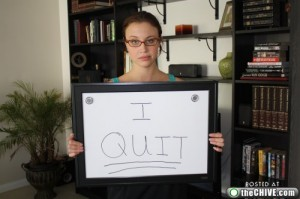 "Dispirited Employee Makes Sign Saying ""I Quit!"""