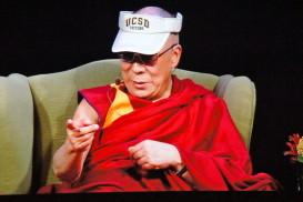 The Dalai Lama Wearing A UCSD Visor